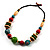 Multicoloured Wood Bead Cotton Cord Necklace - 60cm L - view 10