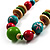 Multicoloured Wood Bead Cotton Cord Necklace - 60cm L - view 3