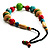 Multicoloured Wood Bead Cotton Cord Necklace - 60cm L - view 4