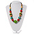Multicoloured Wood Bead Cotton Cord Necklace - 60cm L - view 2