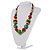 Multicoloured Wood Bead Cotton Cord Necklace - 60cm L - view 12