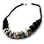 Stylish Chunky Polished Wood and Resin Bead Cotton Cord Necklace (Black & White) - 44cm L - view 6
