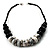 Stylish Chunky Polished Wood and Resin Bead Cotton Cord Necklace (Black & White) - 44cm L - view 7