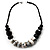 Stylish Chunky Polished Wood and Resin Bead Cotton Cord Necklace (Black & White) - 44cm L - view 2