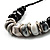 Stylish Chunky Polished Wood and Resin Bead Cotton Cord Necklace (Black & White) - 44cm L - view 3