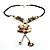 Antique White Shell Composite Floral Tassel Leather Cord Necklace - view 7