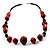 Red Wood Bead Leather Style Cord Necklace (Silver Tone) - view 7