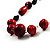 Red Wood Bead Leather Style Cord Necklace (Silver Tone) - view 3