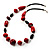 Red Wood Bead Leather Style Cord Necklace (Silver Tone) - view 2