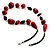 Red Wood Bead Leather Style Cord Necklace (Silver Tone) - view 4