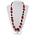 Red Wood Bead Leather Style Cord Necklace (Silver Tone)