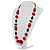 Red Wood Bead Leather Style Cord Necklace (Silver Tone) - view 10