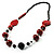 Stylish Animal Print Wooden Bead Necklace (Black & Red) - view 7