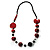 Stylish Animal Print Wooden Bead Necklace (Black & Red) - view 8