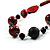 Stylish Animal Print Wooden Bead Necklace (Black & Red) - view 3