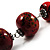 Stylish Animal Print Wooden Bead Necklace (Black & Red) - view 4
