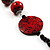 Stylish Animal Print Wooden Bead Necklace (Black & Red) - view 5