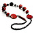 Stylish Animal Print Wooden Bead Necklace (Black & Red) - view 6
