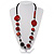 Stylish Animal Print Wooden Bead Necklace (Black & Red) - view 2