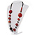 Stylish Animal Print Wooden Bead Necklace (Black & Red) - view 9