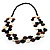 2 Strand Long Wood and Plastic Bead Necklace (Dark Brown & Cream) - view 7
