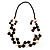 2 Strand Long Wood and Plastic Bead Necklace (Dark Brown & Cream) - view 3
