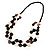 2 Strand Long Wood and Plastic Bead Necklace (Dark Brown & Cream) - view 2