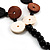 2 Strand Long Wood and Plastic Bead Necklace (Dark Brown & Cream) - view 5