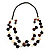 2 Strand Long Wood and Plastic Bead Necklace (Dark Brown & Cream) - view 8
