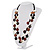 2 Strand Long Wood and Plastic Bead Necklace (Dark Brown & Cream) - view 10