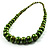 Long Graduated Wooden Bead Colour Fusion Necklace (Green & Black) - view 3