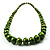 Long Graduated Wooden Bead Colour Fusion Necklace (Green & Black) - view 7