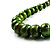 Long Graduated Wooden Bead Colour Fusion Necklace (Green & Black) - view 6