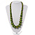 Long Graduated Wooden Bead Colour Fusion Necklace (Green & Black) - view 2
