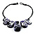 Purple Resin Nugget Satin Cord Necklace - view 5