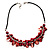 Bright Red Shell Composite Charm Leather Style Necklace (Silver Tone) - view 2