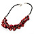 Bright Red Shell Composite Charm Leather Style Necklace (Silver Tone) - view 6