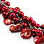 Bright Red Shell Composite Charm Leather Style Necklace (Silver Tone) - view 4