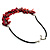 Bright Red Shell Composite Charm Leather Style Necklace (Silver Tone) - view 7