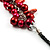 Bright Red Shell Composite Charm Leather Style Necklace (Silver Tone) - view 5