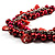 Bright Red Shell Composite Charm Leather Style Necklace (Silver Tone) - view 3
