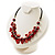 Bright Red Shell Composite Charm Leather Style Necklace (Silver Tone) - view 8