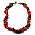 4 Strand Twisted Glass And Ceramic Choker Necklace (Black, Carrot Orange & Metallic Silver) - 48cm L - view 4