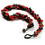 4 Strand Twisted Glass And Ceramic Choker Necklace (Black, Carrot Orange & Metallic Silver) - 48cm L - view 7