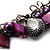 Purple Bead & Shell Long Necklace (Burn Silver Tone) - view 3