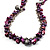 Purple Bead & Shell Long Necklace (Burn Silver Tone) - view 4