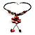 Coral Red Shell Composite Floral Tassel Leather Cord Necklace - view 7