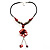 Coral Red Shell Composite Floral Tassel Leather Cord Necklace - view 2