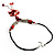Coral Red Shell Composite Floral Tassel Leather Cord Necklace - view 8