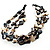 3 Strand Antique White & Black Shell - Composite Bead Necklace - view 3